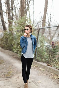 ankle boots, black pants, denim jacket, gray tee, casual basics, outfit inspiration, street style, outfit of the day