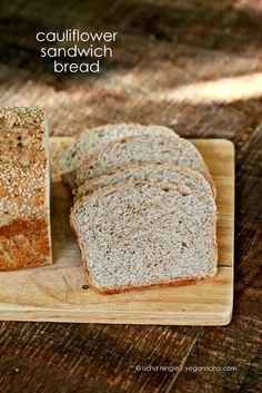 Cauliflower Sandwich Bread Loaf. Vegan Recipe | Vegan Richa - Looks like it can easily be made using whole grains rather than white #vegan #recipes #healthy #recipe #vegetarian