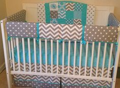 A personal favorite from my Etsy shop https://www.etsy.com/listing/176088825/crib-bedding-set-aqua-gray-and-white