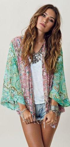 Green And Pink Printed Kimono