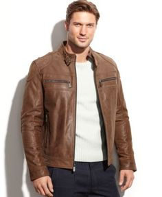 Michael Michael Kors Clear Creek Patched Leather Moto - Coats & Jackets - Men - Macy's