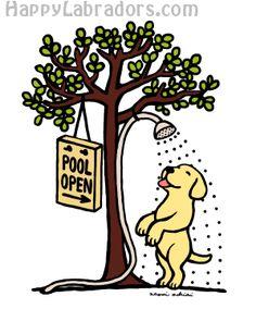 Summer Water Fun Yellow Labrador Cartoon Gifts by HappyLabradors.com Cute Yellow Labrador Artwork and Gifts for Labrador People!