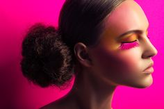 Lash Factor–Posing in a beauty shoot photographed by Jeff Tse, model Paloma Passos shows off colorful eyelash looks with an avant garde edge. Makeup artist Jen Navaro creates Paloma's multi-hued lashes as well as vibrant eyeshadows while hair stylist Meg Cost gives her a sleek bun. / Production by Natalie Hayes