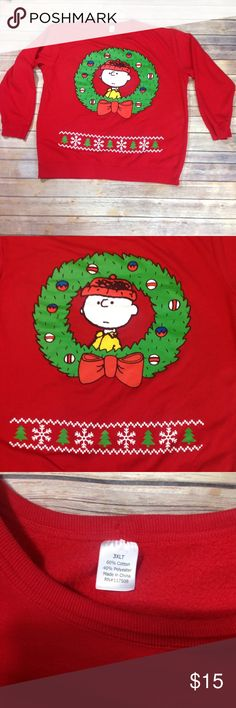 Charlie Brown Men's 3XLT Ugly Christmas Sweatshirt Unbranded.  Good gently worn condition.  Chest- 58 in., Length- 30 1/2 in., Sleeve Length- 25 in.  Shelf #A133 Shirts Sweatshirts & Hoodies
