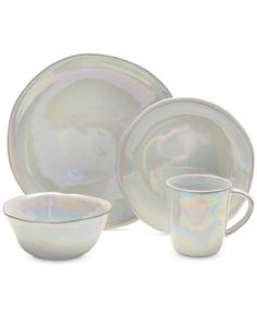 Mikasa Coronado Pearl 4-Pc. Place Setting  sc 1 st  Pinterest & 8PC Artistic Accents White Opal Pearl Milky Glass Iridescent Plates ...