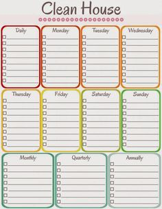 amy's notebook: 5 Printable Cleaning Schedules