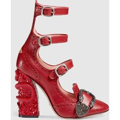 Gucci Queercore Brogue Pump ($1,790) ❤ liked on Polyvore featuring shoes, pumps, gucci, red, strap shoes, strappy pumps, gucci pumps, bee bee shoes and studded shoes