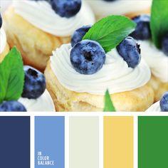 amarillo soleado, amarillo y azul oscuro, azul oscuro, azul oscuro y celeste, color amarillo agradable, color arándano, color crema, color de la bollería, color verde hoja, colores azul oscuro y verde, colores contrastantes, colores del arándano, combinación contrastante, verde.