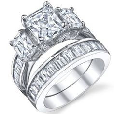 This ring set is wonderful, the end of the magic was very polished and the cubic zirconia rocks were bright.