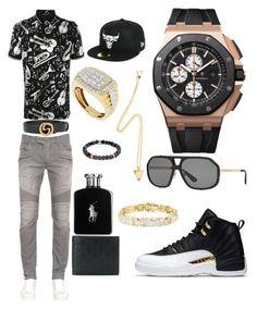 """Casual"" by pitbull8382 on Polyvore featuring Dolce&Gabbana, Balmain, Gucci, Audemars Piguet, Ralph Lauren, Tateossian, New Era, Marco Ta Moko, men's fashion and menswear"
