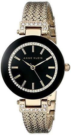 Anne Klein Women's Swarovski Crystal-Accented Watch with Gold-Tone Mesh Bracelet. Click Visit for more info. Mesh Bracelet, Bracelet Watch, Mesh Armband, Anne Klein Watch, Luxury Watch Brands, Jewelry Clasps, Jewlery, Cool Watches, Women's Watches