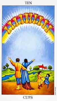 The Ten of Cups embodies happiness, joy, contentment and emotional fulfilment, particularly in the area of your relationships and family. It represents almost an idyllic state of peace, harmony and love where all your dreams and wishes have come true and you are delighting in your good fortune. With the image of a happy family and a comforting home in the background, the Ten of Cups is indicative of a harmonious and loving family life. All family members are getting along with each other and…