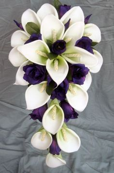 Wedding Bouquet - White Latex Foam Calla Lily & Purple Lisianthus Teardrop