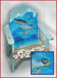 sea turtle paint style chair