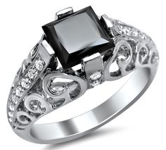 1.70ct Black Princess Cut Diamond Engagement Ring 14k White Gold Vintage Style / Front Jewelers