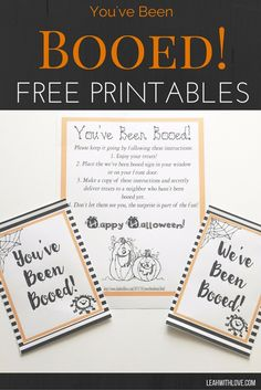You've Been Booed! Free printables to add a little holiday spirit to your neighborhood. Halloween Boo, Holidays Halloween, Halloween Treats, Happy Halloween, Halloween 2018, Halloween Cards, You Have Been Booed, Halloween Gift Baskets, Boo Sign