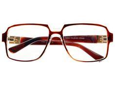 Retro Square Aviator Glasses Clear Brown A684
