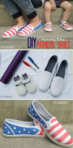 DIY american flag shoes > easy & adorable. Perfect for Memorial Day or July 4th.patriotic shoes for 4th of July!