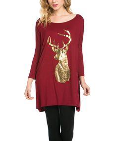 Look what I found on #zulily! Burgundy Scoop-Neck Deer Tunic #zulilyfinds