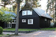 Black House Exterior, Trendy Home, White Trim, Greenery, Shed, Outdoor Structures, Black Diamond, Cottages, Modern