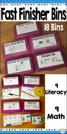 Teacher i'm Done, Early finisher Bins for Fast finishers. 18 bins for language arts and Math to keep your speedy kids busy working on skills while the rest of your class finishes. Your fast finishers can work on handwriting, number writing, rhyming, letter recognition, sight words, counting shapes and more
