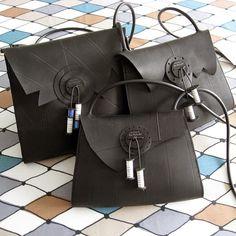 car innertubes repurposed into handbags.