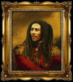 Bob Marley by Steve Payne (who created the Replaceface series, where Steve took digital copies of George Dawe's paintings of russian generals and added celebrities faces to the portrait using photoshop) Kanye West, Leonardo Dicaprio, Michael Jackson, Mona Lisa, Robert Nesta, Nesta Marley, Street Art, Boy Meets Girl, Photoshop