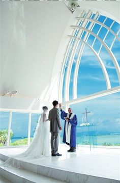 I've always want to have wedding photo shooting / wedding in a chapel in Okinawa,Japan. by the sea, glass-wall,small,white...just beautiful! although I'm not getting married, I'd love to put on my fav bride dress walking in since having wedding there doesn't count as married legally (how awesome is that!:D).
