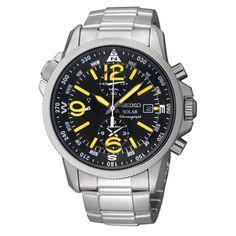 Mens Seiko Stainless Steel Black Dial Solar Alarm Chronograph Watch #watch #seiko