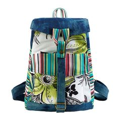 Walking Flower Ethnic Watercolor Floral Denim Backpack With Color Stripe B
