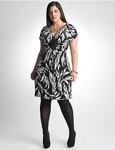 Fun and fashionable dress takes you from day to night in style with an abstract print and beaded embellishments. Flattering shape plays up a curvy figure, featuring a ruched V-neckline, seamed waist and the perfect length to show just a little leg. Smooth knit keeps you cool and comfy. lanebryant.com