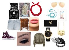 """""""summer date with Jc Caylen"""" by lovinglife56 on Polyvore featuring Topshop, Ray-Ban, Free People, FOSSIL, Converse, Express, MICHAEL Michael Kors, LASplash, Versace and women's clothing"""