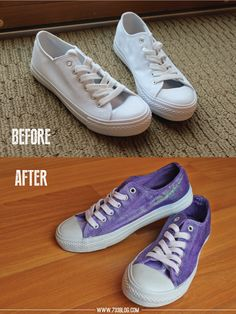 Fantastic tutorial on dip dyeing and adding glitter to shoes. Great site to check out too. 733blog.com