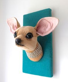 Chihuahua fibre wall sculpture. Small dog head, bling. Green teal tweed. Faux taxidermy. Quirky textile art. by charactersbyjulia on Etsy