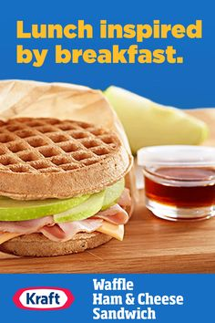 With waffles instead of boring old bread, this apple waffle sandwich will be the talk of the whole lunch room. Argula Recipes, Coliflower Recipes, Waffle Sandwich, Sandwich Bar, Kraft Recipes, Kraft Foods, Grilled Fish Recipes, Cheese Ball Recipes, Fast Easy Meals