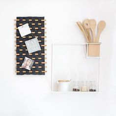 Organize your small kitchen spaces with the CUBIST shelf and leave notes for your special cooking partner with our LOOMA wall decor.