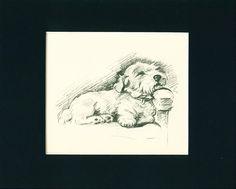 Dog Print 1937 Sealyham Terrier on Chair by Lucy Dawson VINTAGE