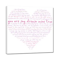 heart shaped word art canvas romantic gift
