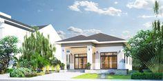Thiết kế nhà đẹp giá rẻ cấp 4 mái thái ở nông thôn   KAV Rum, Places To Visit, House Design, Mansions, House Styles, Outdoor Decor, Motorcycles, House Ideas, Home Decor
