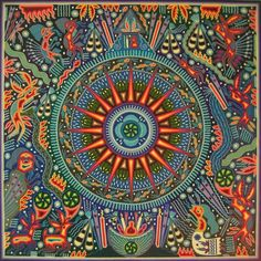 Maximino renteria premier huichol yarn painting 48 x Adult Coloring Pages, Augustin Lesage, Mexican Wall Art, Doodle, Yarn Painting, Sun Art, Hippie Art, Indigenous Art, Visionary Art