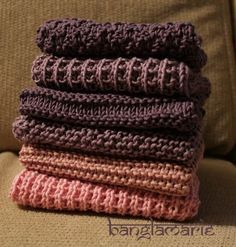 Banglamarie: 6 kitchen towels Source by Knitted Washcloths, Knit Dishcloth, Knitted Hats, Knitting Stitches, Hand Knitting, Knitting Patterns, Easy Yarn Crafts, Fabric Crafts, Knitting For Beginners