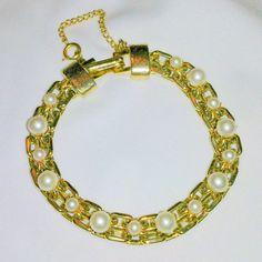 Vintage Faux Pearl Link Bracelet by BorrowedTimes on Etsy