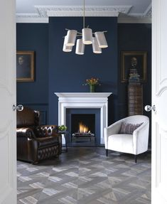 A classic pendant lamp with silk shades, the Gio pendant lamp is large and imposing yet feminine. * W x H * standard adjustable drop rod * Available in polished brass or polished nickel * Dove grey silk shades * Handmade in England Navy Living Rooms, Blue Rooms, Living Room Colors, My Living Room, Home And Living, Living Room Decor, Living Spaces, Condo Living, Dining Room
