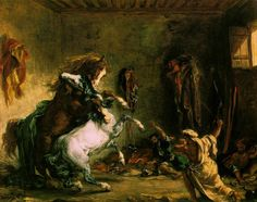 Delacroix --- Arabian Horses Fighting in a Stable  1860 (160 Kb); Oil on canvas, 64.5 x 81 cm; Musee d'Orsay, Paris