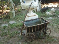 antique european harvest wagon wood wagon child wagon goat cart flower cart wagon garden wagon. $485.00, via Etsy.