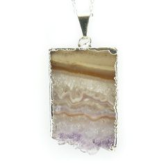 Amethyst Slice Pendant With Sterling Silver Necklace Chain – CellsDividing