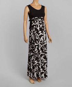 Another great find on #zulily! Black & White Floral Maternity Maxi Dress #zulilyfinds