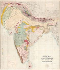 General Sketch of the Physical and Geological Features of British India. London, lithographed by A. Petermann for Edward Stanford, Old Maps, Antique Maps, Vintage Travel, Vintage World Maps, India Map, Vintage India, Alternate History, Travel Illustration, Cartography