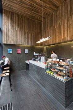 Luminaire Bardage bois intérieur +Pliage carrelage Cafe