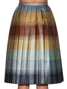 Metallic pleated striped midi skirt | Marco De Vincenzo | MATCHESFASHION.COM UK | #MATCHESFASHION